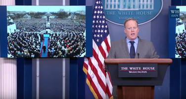white house spokesman slams media over crowd size comparisons in bizarre first briefing