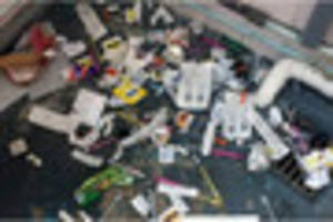 public toilet found covered with dozens of needles and drug...