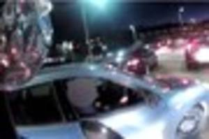 Watch moment disgusting road rage driver cuts up biker and SPITS...