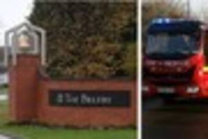 firefighters rush to the belfry hotel blaze in wishaw, sutton...