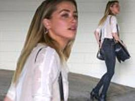 amber heard steps out in see-through white blouse
