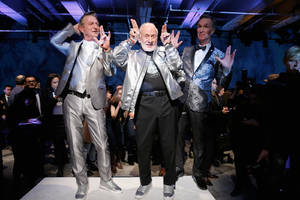 bill nye and buzz aldrin do a little turn on the catwalk