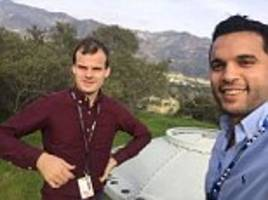 engineers take selfie with object some thought was a ufo