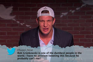watch rob gronkowski, other super bowl players read mean tweets on 'kimmel' (video)