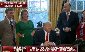 trump signs executive orders rolling back dodd-frank, fiduciary rule