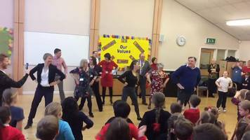 strictly come dancing's ed balls performs gangnam style at school