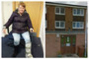 disabled woman begs - 'don't make me climb two flights of stairs...