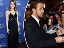 emma stone and ryan gosling swarmed by fans at the sbiff