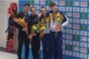olympians tom daley and tonia couch among the medals at national...