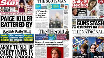 scotland's papers: paige killer attack and cemetery gun stash