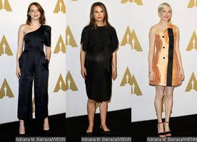 emma stone, natalie portman and michelle williams dazzle at oscar nominees luncheon