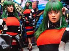 rihanna wears wig for colorful shoot in new york