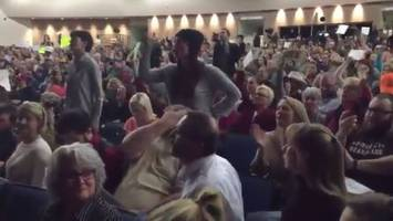 jason chaffetz utah town hall disrupted by swarm of angry protesters - do your job