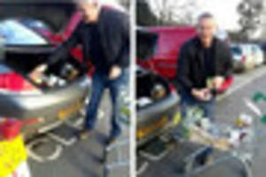 biker confronts martin clunes for parking bmw in a bike space