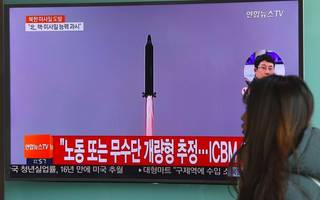 north korea test-fires ballistic missile as trump and abe meet