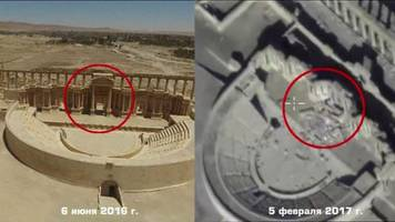 Russian drone footage shows IS damage to Palmyra