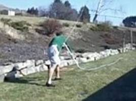 man hits himself with an 80ft whip