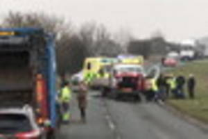 A165 closed as crash leaves two men seriously hurt