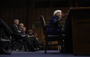 yellen says reducing the regulatory burden is a 'legitimate and important goal' and bank stocks are rising