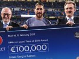 real madrid defender ramos donates £85,000 to red cross