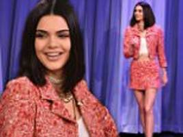 kendall jenner opts for a chanel suit on tonight show