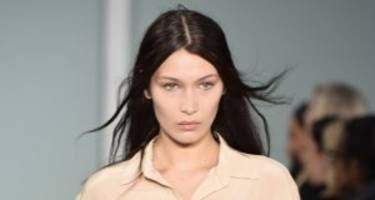 [pics] bella hadid shows off some skin in a thigh-high slit dress by brandon maxwell