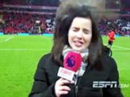 football presenter gets hit with stray ball live on air