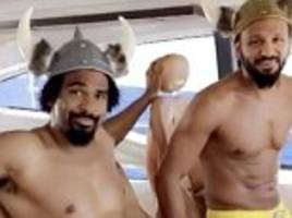 David Haye messes about with viking hat in Miami camp