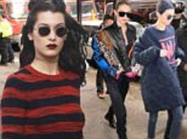 kendall jenner, gigi & bella hadid show off figures in ny