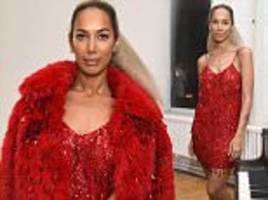 Leona Lewis wears scarlet dress at Marc Jacobs NYC event