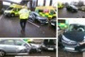 Two hurt in three car smash as driver goes WRONG way up Spaghetti...