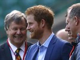 prince harry watches eddie jones' england side train
