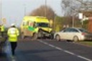 man dies after crash between two cars and an ambulance on 999...