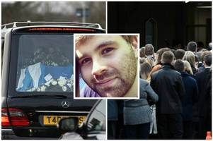 hundreds of mourners pay respects at funeral of milngavie fire murder victim cameron logan