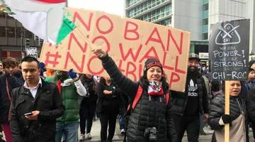 angry protesters demand that trump stop attacking women, muslims, immigrants, lgbtq+, journalists...
