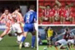 two cheltenham town greats go head to head on touchline