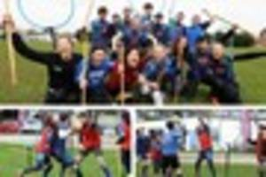 cornish quidditch team encourages new players to throw a quaffle...