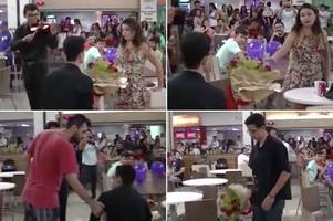 heartbreak and humiliation captured on camera as very public proposal in shopping centre's food court goes horribly wrong