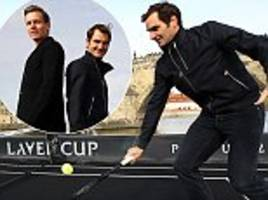 roger federer plays tennis on a boat with tomas berdych