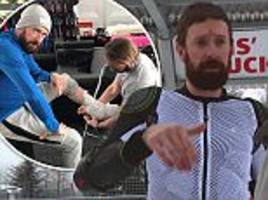 bradley wiggins triumphs over louis smith on the jump