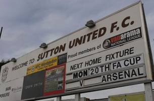 Sutton looks to spring FA Cup shocker on Arsenal