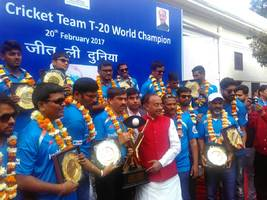 Sports Minister Goel felicitates Indian blind cricket team