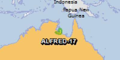 green alert for tropical cyclone alfred-17. population affected by category 1 (120 km/h) wind speeds or higher is 0.