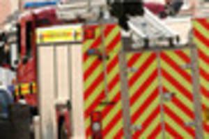 Cheshire Fire and Rescue Service deal with car fire in Mow Cop...