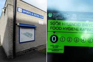 a social club at cardiff's university hospital of wales was given a zero food hygiene rating