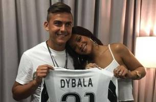 paulo dybala shows rihanna some birthday love, almost cheeses his whole face off