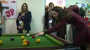 duchess of cambridge plays pool on torfaen wales visit