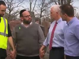 Mike Pence Helps Clean Up Vandalized Jewish Cemetery