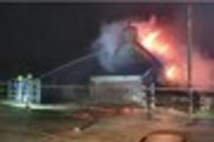 Firefighters called to seven hour inferno at Whitstone near...