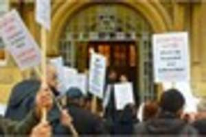 watch 'no cuts' protest outside town hall before leicester city...